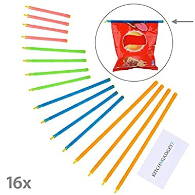 Slide-On Bag Sealer Sticks 16 pieces in 4 Different Sizes - Quickly Seal Bags That Contain Food, Herbs, etc. - Keeps Content Fresh - Reusable - No Electrical Devices - Diamond Shield Retail Package