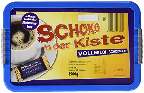 Hack Schokotäfelchen Vollmilchschokolade in der Kiste, 1er Pack (1 x 1.5 kg)