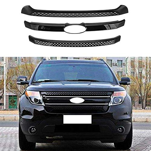 MotorFansClub Front Grill Cover fit for compatible with Ford Explorer 2011-2015 Grille Trims, Black