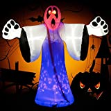 Foomnet 8 Ft Halloween Inflatable Witch Ghost Decoration Lantern Inflatables Witchy Holding Pumpkin for Holiday Indoors Outdoors Yard Lawn Party (inflscreamgh-ma)