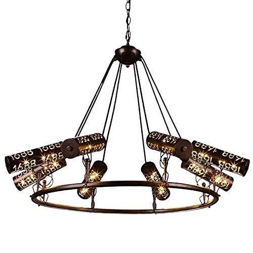 Retro lámpara de hierro forjado de 8 luces estadounidense metal de la vendimia de techo lámpara de hierro cocina del restaurante Droplight industrial pendiente de la luz Bar Club Comedor Luz colgante
