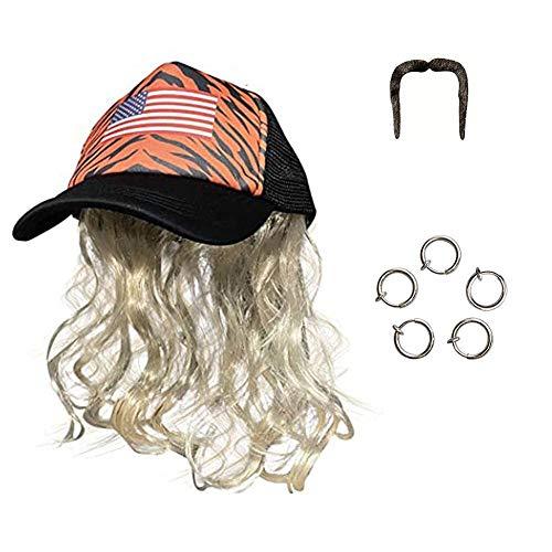 Joe peluca rubia exótica con pendientes de clip de sombrero bigote conjunto de cosplay peluca de pelo corto y rizado para hombre Halloween carnaval accesorio de cosplay para rey tigre