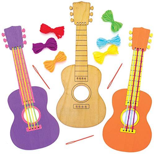 Baker Ross Bastelsets Gitarren-Bastelsets aus Holz, für Kunsthandwerksprojekte für Kinder (3 Stück)