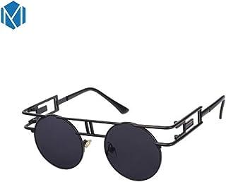 ef2ca84d43 MISM Gotico Punk gafas de sol redondas Steampunk Mirrored Circle Eyewear  Marco de metal estilo retro