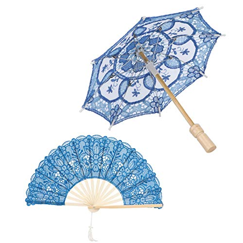 Paraguas de encaje artesanal y abanico plegable de madera, Paraguas de encaje...