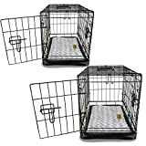 PETSWORLD Single Door Dog Crate, Set of 2 - 42 inch w/Divider + Dog Bed Included