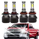 9005 H11 LED Headlight High Beam/Low Beam Combo Set For Chevy Silverado 1500/2500 HD / 3500 HD (2008-2015), 4 Sides COB Chips 48000LM High Power Car Upgrade Lights Conversion Kit