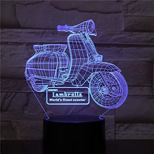 Ymxymx Motocicleta Scooter 3D LED luz de Noche RGB USB lámpara de Mesa táctil decoración de Fiesta Familiar niños Lava