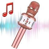 Micrófono de karaoke, micrófono para niños, inalámbrico, Bluetooth, portátil, para karaoke, bocina, máquina de bocina, Navidad, cumpleaños, hogar, fiesta, niños, cantando juguetes