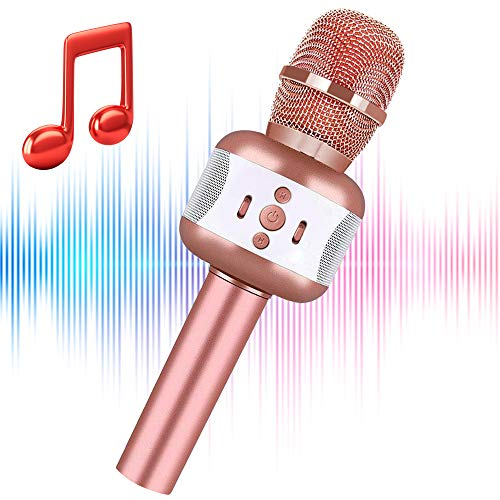 Karaoke Mikrofon, Drahtloses Bluetooth 4.2 Karaoke-Mikrofon Tragbare Handheld Karaoke Mic Home Party Weihnachten Geburtstag Spielzeug Mikrofon für Kinder (Roségold)