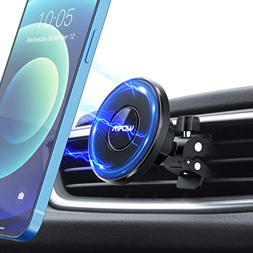 Mpow Magnetic Car Vent Phone Mount for iPhone 12, Strong Magnet Air Vent Phone Holder, 360° Rotation Car Phone Holder Compatible with iPhone 12/12 Pro/12 Pro Max/12 Mini/MagSafe Case