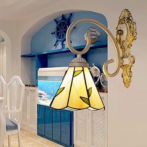 Tifani European Light Light America Natural Seashell Espejo Frente Luz delantera Pasando la lámpara de pared del balcón-Cabeza individual de 6 pulgadas