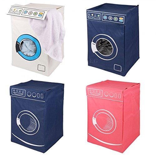 Cesta Porta Biancheria a Forma di Lavatrice Laundry Hamper in Vari Colori Bianco, Blu o Fucsia