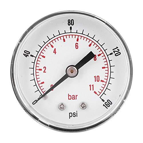 Manómetro de presión de aire, manómetro de presión Conexión trasera del manómetro, para aire, agua,(0-160psi 0-11bar)