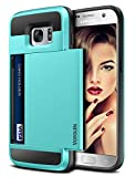 Vofolen Case for Galaxy S7 Case Wallet Slidable Card Holder Slot ID Pocket Protective Hard Shell Shock Absorbing TPU Tough Rubber Bumper Armor Scratch-Proof Case Cover for Samsung Galaxy S7 Sky Blue