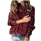 ニットセータークルーネックセーター快適なプルオーバースウェットシャツタートレネックセーター長袖冬のエレガントな暖かさボタンスリーブ