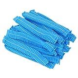 Lurrose 100 Piezas Gorras Desechables Gorro de Laboratorio elástico no Tejido Gorra de Red Gorro de Ducha para Maquillaje Servicio médico Horneado de Alimentos 100 Piezas Azul