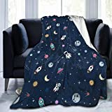Astronaut Space Adventure Planet Rocket Throw Blanket Fleece Flannel Ultra Soft Lightweight Travel Blanket for Baby, Kids, Youth (40x50 Inch)