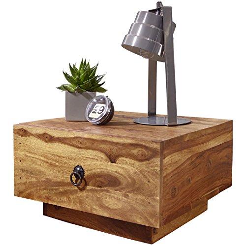 WOHNLING Nachttisch Massiv-Holz Sheesham Design Nacht-Kommode 25 cm hoch mit Schublade Nachtschrank Natur-Holz 40 x 40 cm Nachtköstchen dunkel-braun Deko Nachtkonsole Landhaus-Stil Schlafzimmer-Möbel
