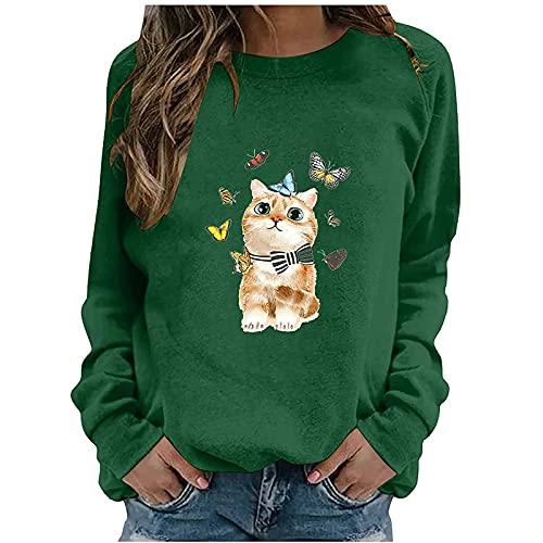 Sudadera para mujer con estampado de gatos, manga larga, cuello redondo, para otoño e invierno, verde, S
