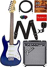 Fender Squier Short Scale 24-Inch Strat Pack - Transparent Blue Bundle with Frontman 10G Amp, Cable, Tuner, Strap, Picks, Fender Play Online Lessons, and Austin Bazaar Instructional DVD