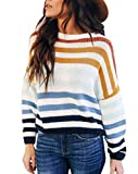 cordat Women Sweaters Long Sleeve Crew Neck Color Block Striped Oversized Casual Knitted Pullover Tops Blue