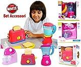 Set di Utensili Elettrodomestici da Cucina per Bambini Accessori da Cucina Giocattolo Include Tostapane, Frullatore e Mixer