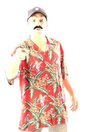 Magnum P.I. Jungle Bird Magnum PI Tom Selleck rot Kostüm Shirt and Hat (XX-Large)