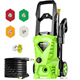 Homdox Electric Pressure Washer, 2500 PSI 1.5 GPM Power Washer, 1800 W High Power Cleaner with 4 Nozzles, Ideal for Car, Home, Garden (Green)