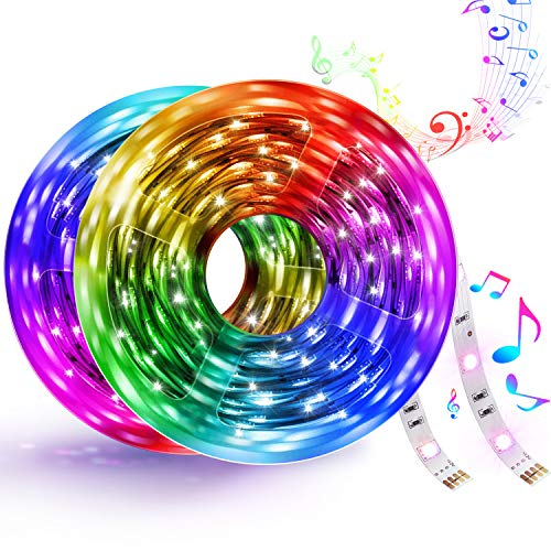 32.8ft Led Strip Lights, 300LEDs 5050 RGB Strip Lights Smart WiFi Strip Light Works with Google Home and Alexa, Music Sync LED Strip Kit Tape Lights with APP Control for Home Kitchen Christmas