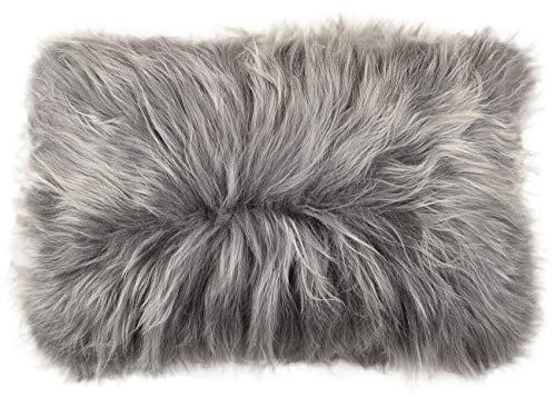 Algemeen lamsvel kussensloop zilvergrijs van echt Island lamsvel ca. 40 x 60 cm schapenvacht kussen van KuHFELLE online