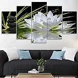 TONGTONG Moderno hogar pared arte decoración marco cuadros modulares 5 piezas blanco flor loto agua adoquines Hd impreso lienzo pinturas