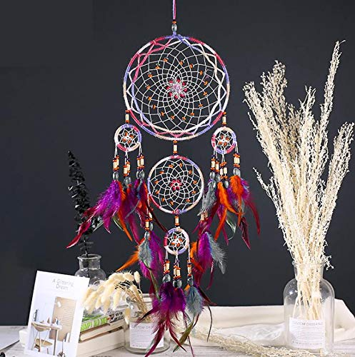SSJIA Wind Chimes Indoor Feather Crafts Dream Catcher Brown Wind Chimes Handmade Indian Dreamcatcher Net for Wall Hanging Home Decoration