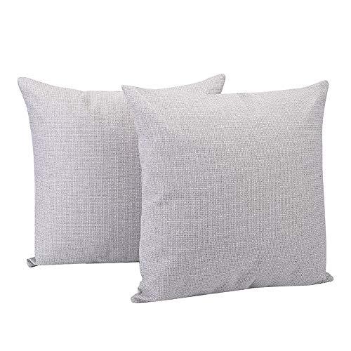 Generic 2 fundas de cojín de lino de algodón, para decoración de casas de campo, 45 x 45 cm, color gris