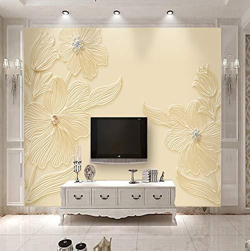 VVNASD 3D Wand Aufkleber Tapete Wandbilder Dekorationen Blumenmusterentlastung Moderner Einfacher Raum Hintergrund Kunst Mädchen Schlafzimmer (W) 250X(H) 175Cm