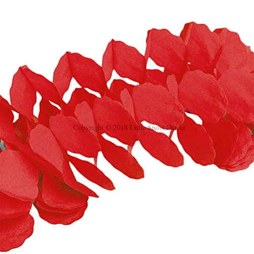 Little Snow Direct 3.6m Four-Leaf Clover Hanging Tissue Paper Flower Garland Wedding Backdrop Party Décor - Red