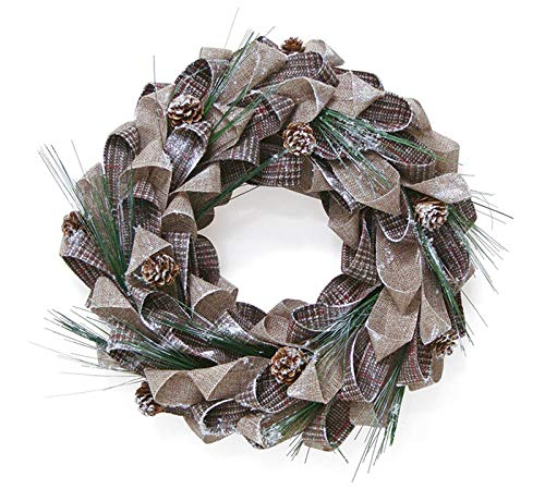 Burton & Burton Wreath 15' Brown/Beige Plaid