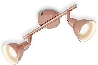 Plafonnier LED Briloner Leuchten 2 spots LED pivotants et orientables en cuivre, GU10, avec 2 ampoules 3 W