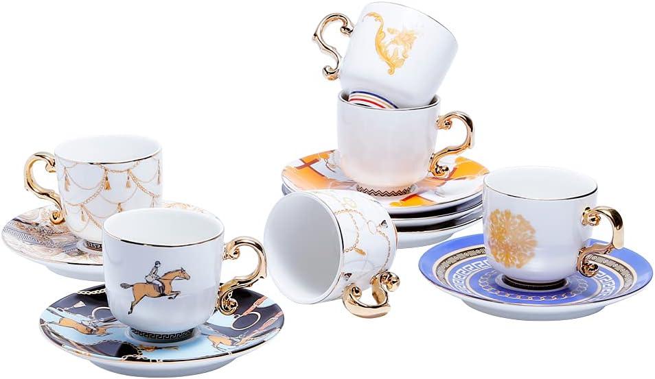 D'oramie Porcelain Coffee Tea Cups and Topics on TV E oz 3.5 Ceramic Fees free Saucers