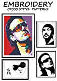 U2 Features Bono The Edge original artwork poster rock music band group Needlework cross-stitching pattern embroidery art Easy to make gift for him Black ... handmade counted pattern (English Edition)