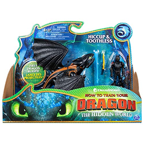 SpinMaster Dreamworks Dragons, Toothless and Hiccup, Dragon with Armored Viking Figure, for Kids Aged 4 and Up