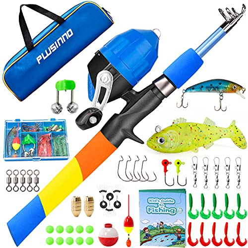 PLUSINNO Kids Fishing Pole, Portable Telescopic Fishing Rod and Reel Combo Kit with Fishing Practice Casting Plug and Spincast Fishing Reel for Boys Girls Youth