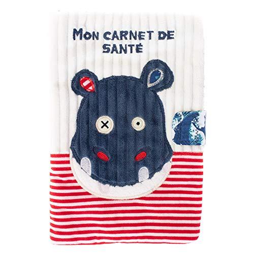 Les Déglingos - Hippipos l'Hippo - Protège carnet de santé - Fermeture en velcro - Ludique - Cadeau enfant et bébé -Tissu doux -Peluche - 25 x 18 cm