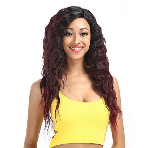 Perruques Noble Extensions De Cheveux Lace Front Deep Wave Rouge Afro-Américaine Synthétique Lace Front pour Les Femmes,24Inch
