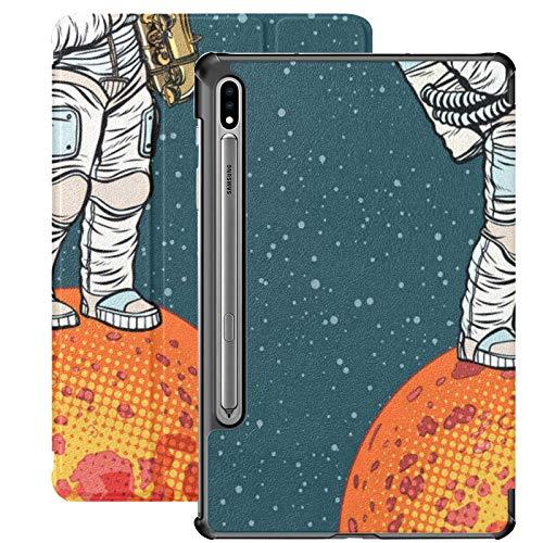 Estuche para Galaxy Tab S7 Estuche Delgado y liviano con Soporte para Tableta Samsung Galaxy Tab S7 de 11 Pulgadas Sm-t870 Sm-t875 Sm-t878 2020 Release, Astronaut Toca el saxofón en Mars Vector