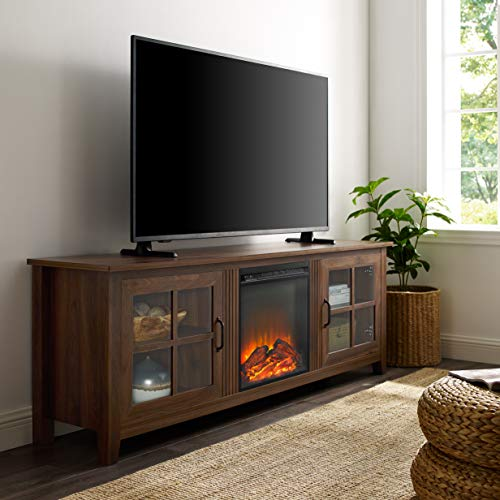 Walker Edison Bern Classic 2 Glass Door Fireplace TV Stand for TVs up to 80 Inches, 70 Inch, Walnut