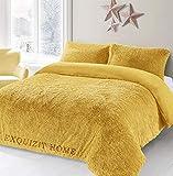 EXQUIZIT HOME Teddy Cuddles - Juego de funda de edredón de forro polar con funda de almohada a juego, cálido y acogedor, juego de cama tamaño King 230 cm x 220 cm aproximadamente.