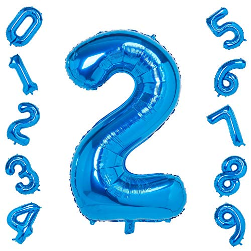 Blue 2 Balloons,40 Inch Birthday Foil Balloon Party Decorations Supplies Helium Mylar Digital Balloons (Blue Number 2)