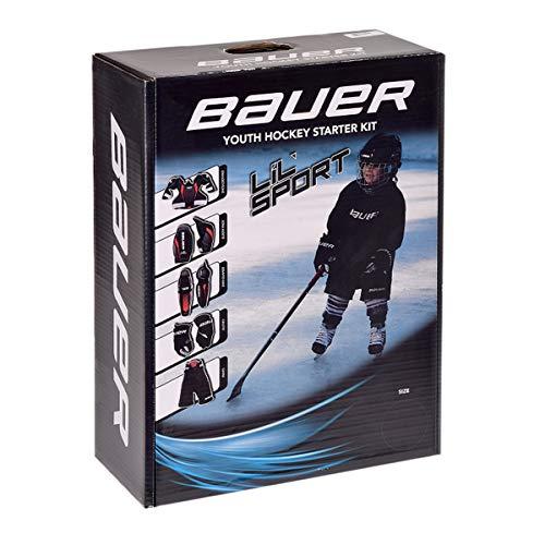 Bauer Eishockey Starter Set Lil Sport Bambini inkl. Schulterschutz, Ellbogenschoner, Schienbeinschoner, Handschuhe & Hose Größe L