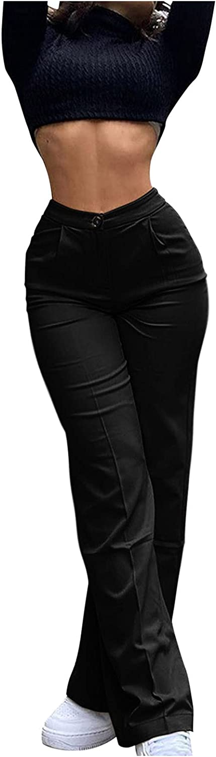 Misaky Women's Fit Classic Straight Leg High Waisted Suit Pant Solid Color Office Business Casual Work Pants
